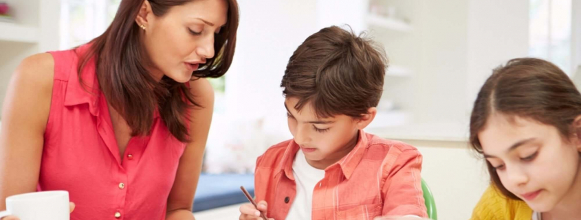 VLV-What should I choose between family and work-Woman working and helping her kids